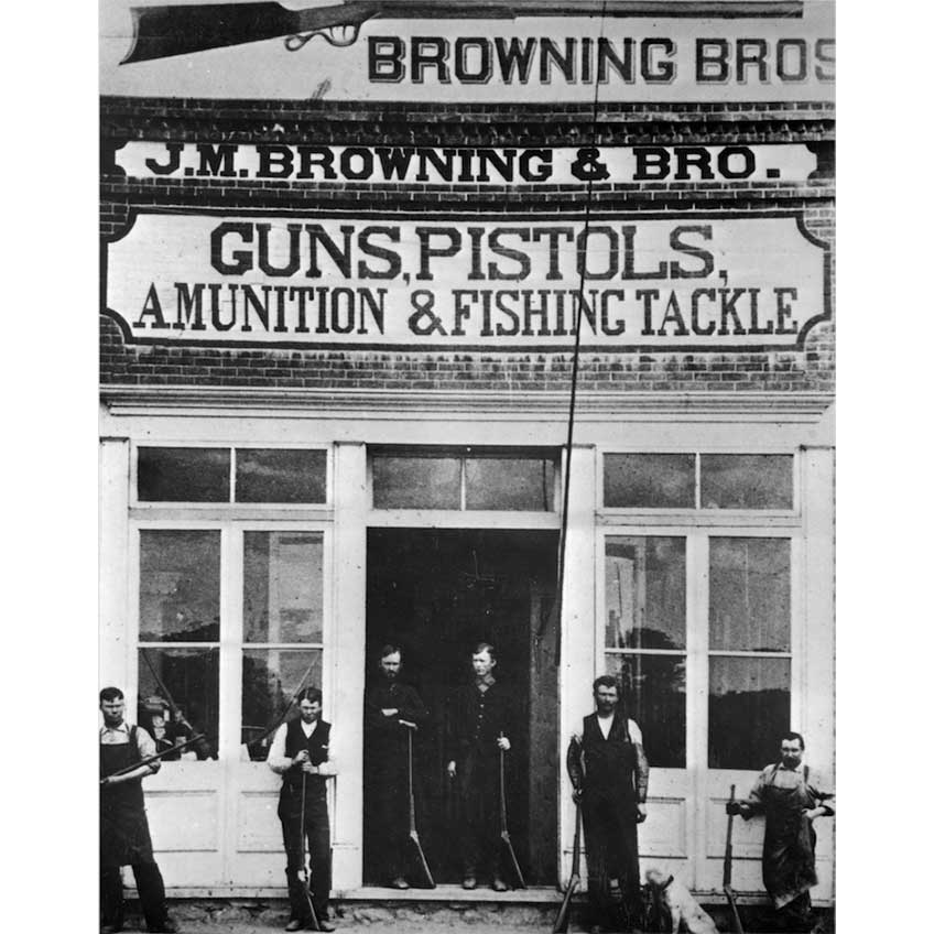 The first Browning storefront, circa 1879. John and Matt stand in the doorway, flanked by their brothers. Frank Rushton is on the far right. All are holding the first Browning rifle, the famous single-shot. It is still in production. Image courtesy of the Utah State Archives