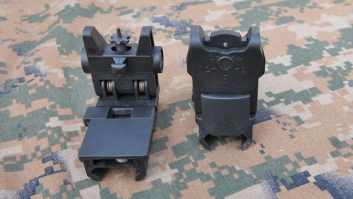 The polymer back-up iron sights that come with the ARX 100.