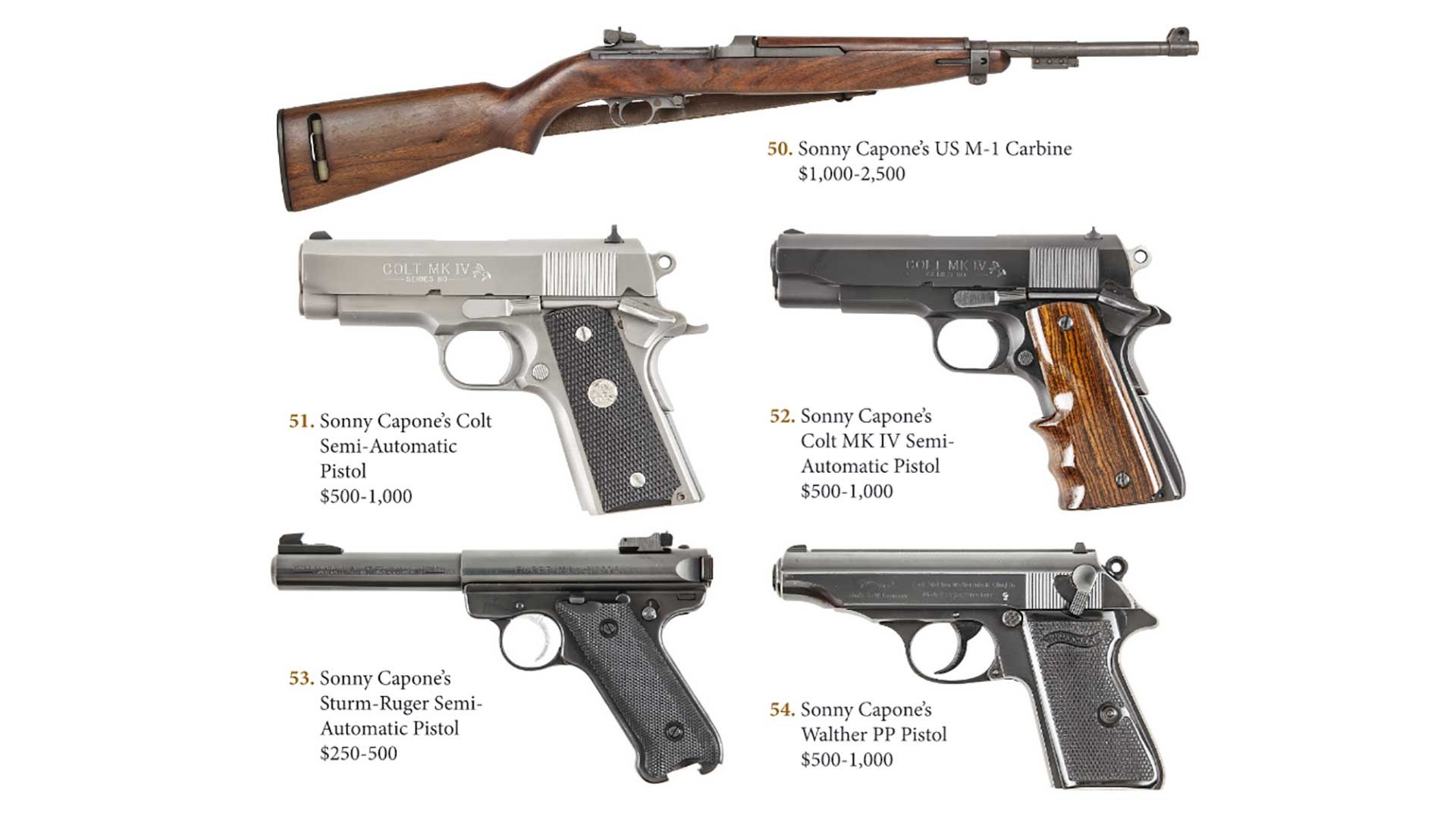 Several firearms owned by Sonny Capone shown on white, including an M1 Carbine, two 1911 pistols, a Walther PP and a Ruger pistol.