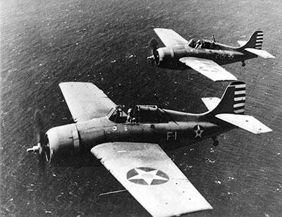 Two U.S. Navy Grumman F4F-3 Wildcats