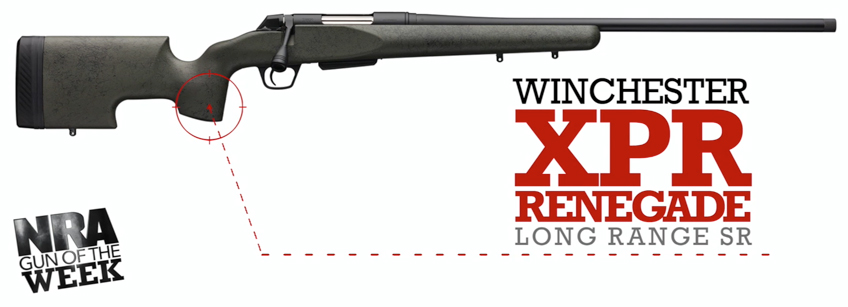 Right side rifle green black silver with text noting NRA GUN OF THE WEEK WINCHESTER XPR RENEGADE LONG RANGE SR