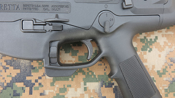 The ambidextrous controls located on the lower receiver of the ARX 100.