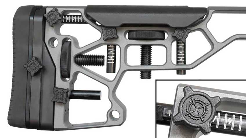 Adjusting the cheekpiece and recoil pad height, as well as length of pull, do not require tools on the stock. Polymer knobs (inset) make working the locking mechanisms effortless, even with gloved hands, and numbered witness marks on the guide rods make returning to original settings fast.