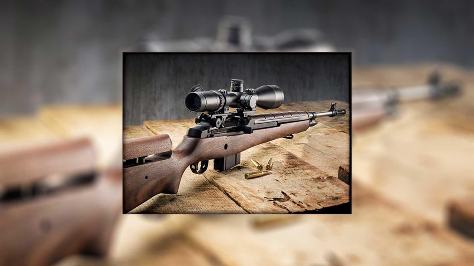 rifle on bench box wood metal gun scope black brown