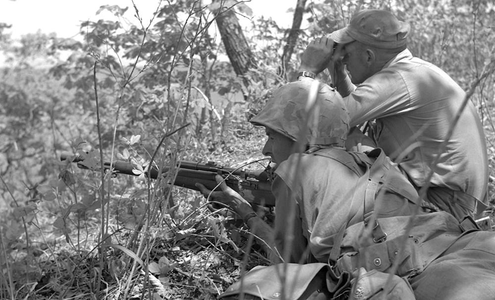 1st Marine Division sniper with M1C rifle
