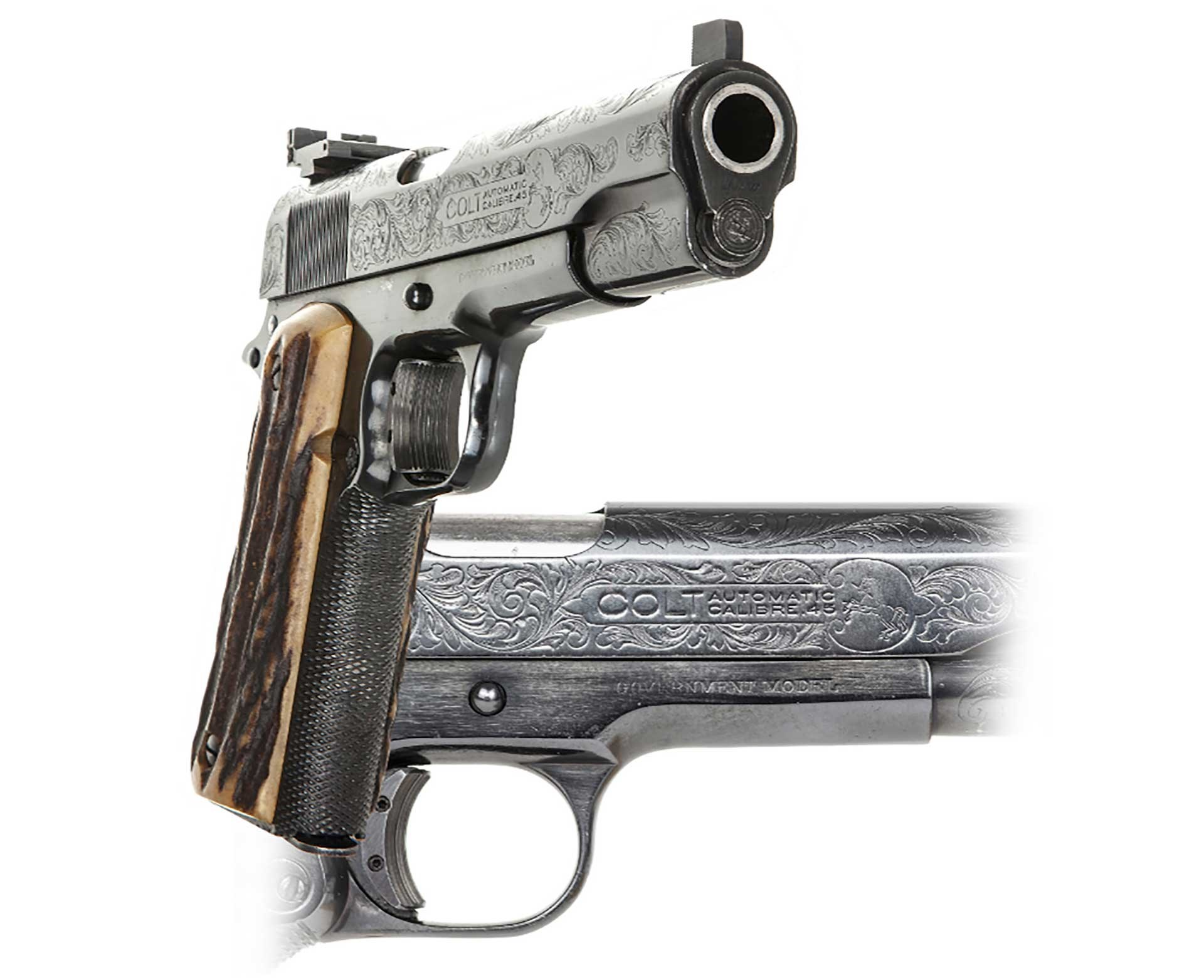 Al Capone's personal 1911 shown from the front and the side, displaying figurative engraving.