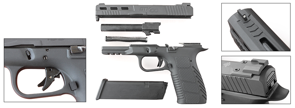 STK100's controls, sights and trigger group