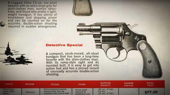 An original catalog listing for the Colt Detective Special.