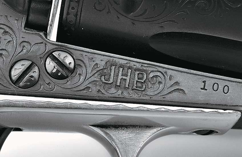 Jerred rendered the initials of Ruger friend and Blackhawk No. 100 owner Jack Behn in bold block letters.