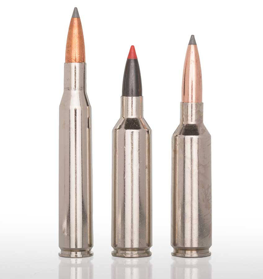 Winchester Ammunition's trio of .277-cal. cartridges consists of (l. to r.): .270 Win., .270 WSM and 6.8 mm Western. In designing the latter, company engineers lowered the shoulder on the WSM case in order to allow for more bullet protrusion.