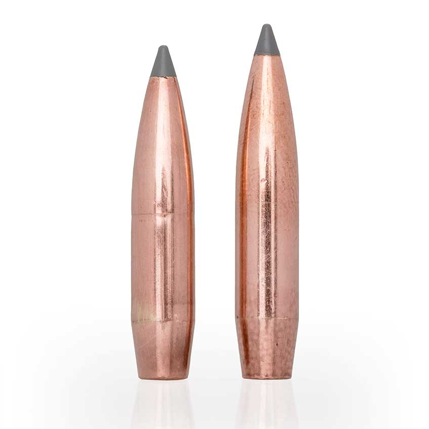"""Measuring 0.095"""" longer than the existing 150-gr. version of the same bullet (l.), the new 165-gr. .277"""" AccuBond Long Range (r.) projectile used by 6.8 mm Western enjoys both a higher ballistic coefficient and greater sectional density."""