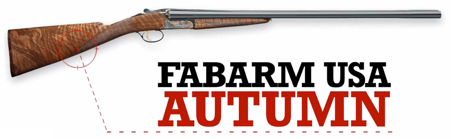"right side shotgun walnut wood metal gun text on image noting ""Fabarm USA Autumn"""