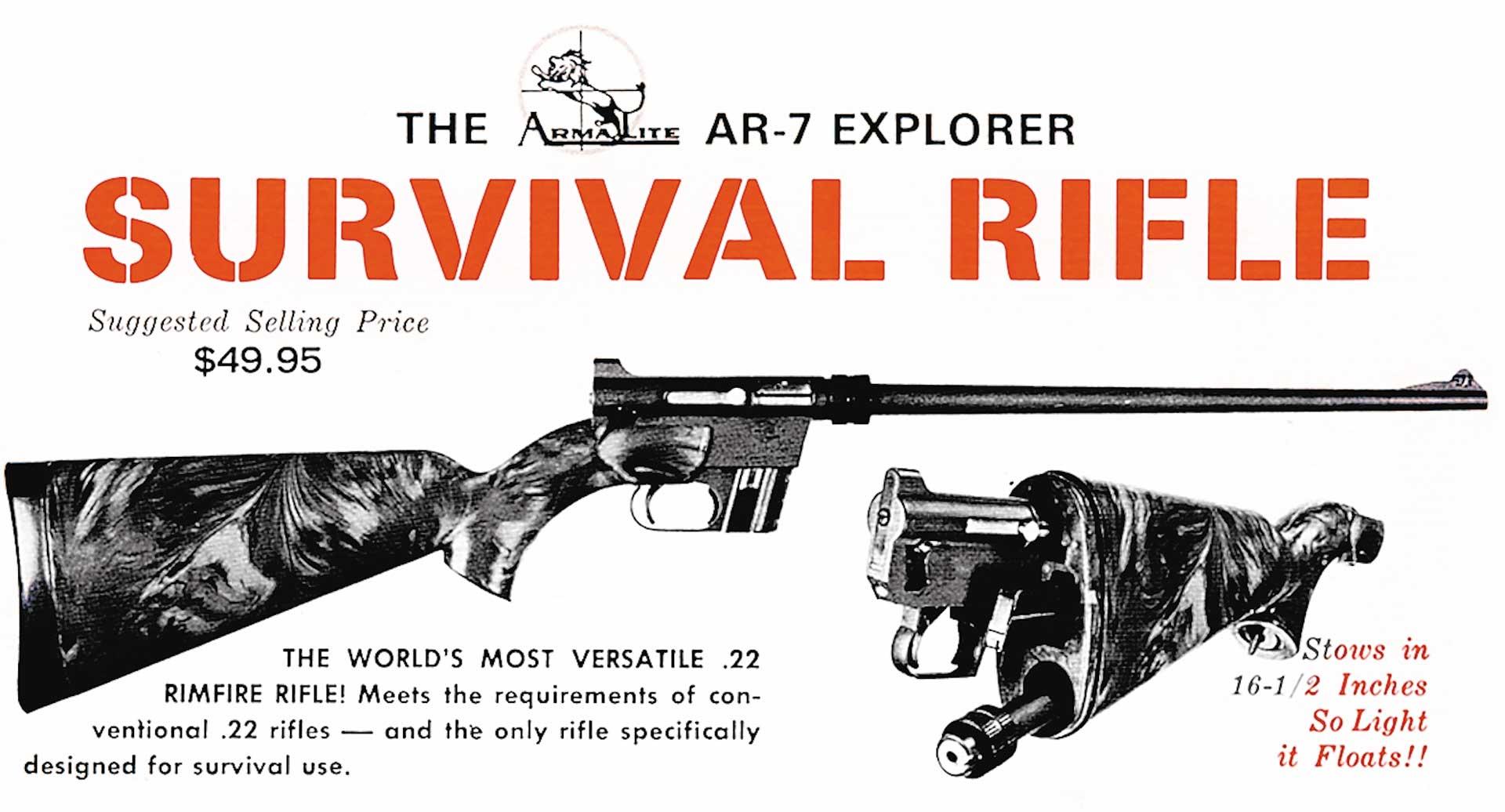 Advertisment rifle survival rifle gun right side camo ad magazine