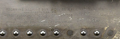 Markings on AN/M2 .50-cal. machine gun