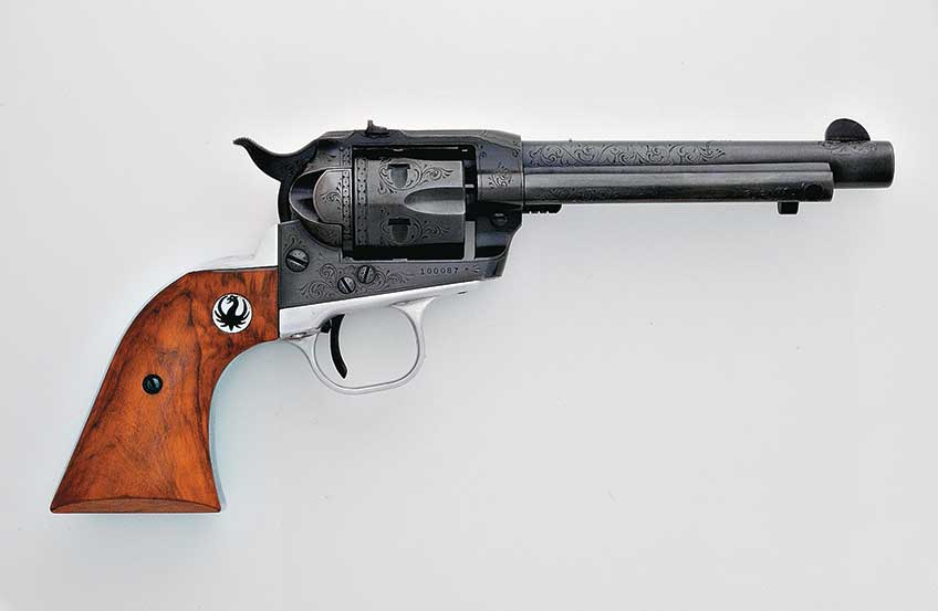 Ruger shipped this Jerred-engraved Revised Standard Pattern Single-Six, serial No. 100087, in June of 1958 to a distributor in Kentucky. Note the engraved screw heads and the contoured loading gate. This gun was part of the last shipment of seven barreled receivers to be engraved. Shortly thereafter the engraving project was suspended.