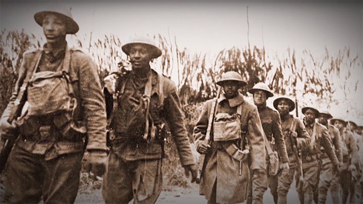 African American soldiers of the AEF wearing American gear.