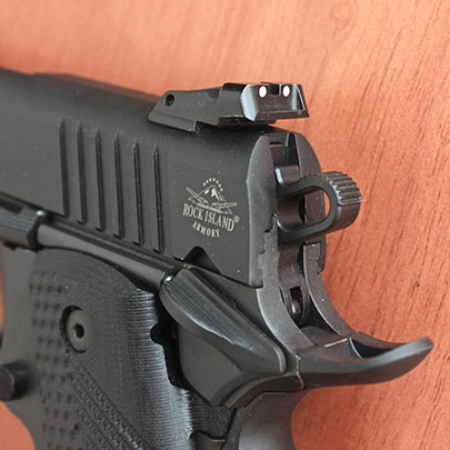 A close up view of the rear sight, hammer, beavertail and safety on the BBR 3.10.