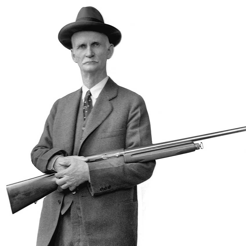 """John Moses Browning filed his patent for a """"Recoil Operated Firearm"""" on May 6, 1899. The gun that would become the Auto-5 was the first successful semi-auto shotgun."""